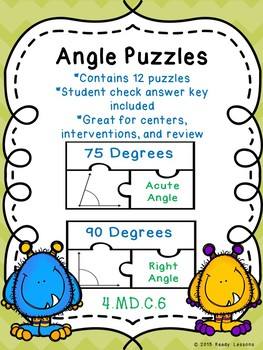 Measuring Angles with a Protractor Game Puzzle Angle Measurement Activity 4.MD.6
