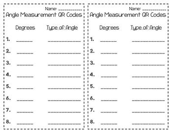 Angle Measurement QR Codes 4.MD.6