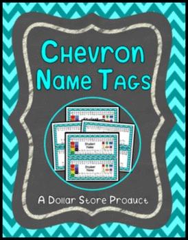 Chevron Theme Desk Name Tags EDITABLE