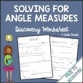 Angle Measures Discovery Worksheet and Task Cards