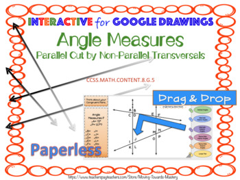 Angle Measures Parallel Cut by Non-Parallel Transversals using Google Drawings