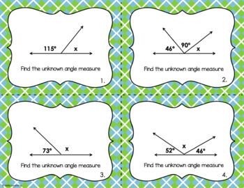Angle Measures Task Cards- Reasoning with Angle Relationships FREEBIE