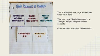 Angle Measures in Triangles Foldable
