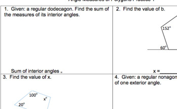 Angle Measures of Polygons Worksheets