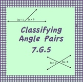 7.G.5 Angle Pair Categories; Vertical, Adjacent, Comp., Supp.