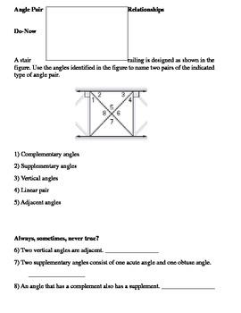 Angle Pairs Worksheet Teaching Resources Teachers Pay Teachers