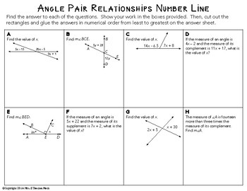 Angle Pair Relationships Cut And Paste Activity By Mrs E Teaches Math