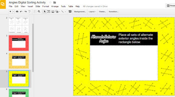 Angle Pair Relationships Parallel Lines Digital Card Sort Activity