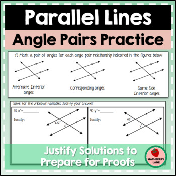 Angle Pair Relationships With Parallel Lines Geometry By Mathberry Lane