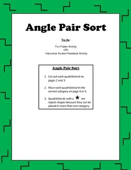Angle Pair Sorting Activity