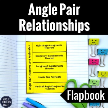 Angle Pair Theorems and Postulates Flapbook