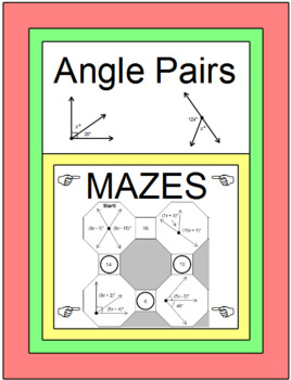 Angle Pairs - 2 MAZES with two levels of difficulty and 14