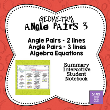 Angle Pairs 3 Summary Graphic Organizer
