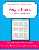 Angle Pairs: A 7th Grade Math Choice Board Activity-7G5