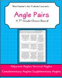 Angle Pairs: A 7th Grade Math Choice Board Activity-7G5