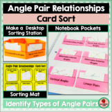 Angle Pairs Card Sorting Activity Interactive Notebook Geo
