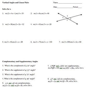 7.G.5 Angle Pairs: Vertical, Adjacent, Complementary, Supplementary