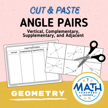 Angle Pairs: Cut and Paste Activity