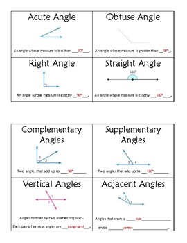 Angle Pairs: Foldable