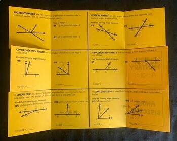Angle Pairs (Geometry Foldable)
