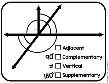 Angle Pairs Math Word Wall Reference