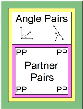 Angles - Angle Pairs (Partner Practice) with RIDDLE and 20