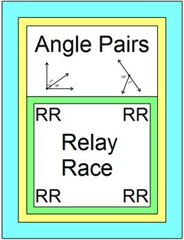 Angle Pairs - RELAY RACE GAME (Groups of 2 or 4)  8 rounds