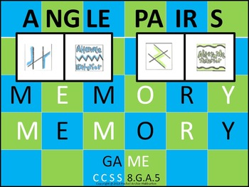 Angle Pairs Relationships Formed by Transversal - Memory Game 8th Math 8.G.A.5