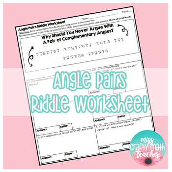 Angle Pairs Riddle Worksheet