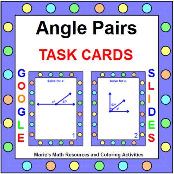 ANGLES:  ANGLE PAIR - TASK CARDS