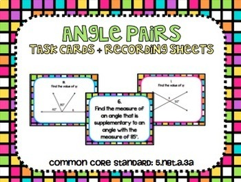Angle Pairs Task Cards