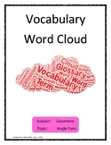 Angle Pairs Vocabulary Word Cloud Word Bank Handout Geometry