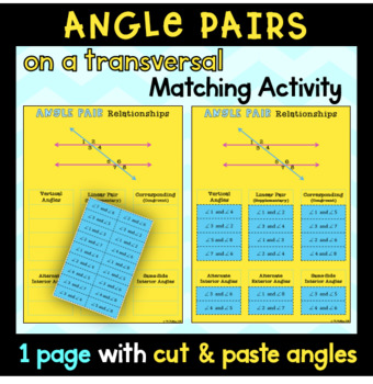 Angle Pairs (on a Transversal) Cut and Paste Activity
