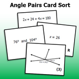 Angle Pairs with Algebra - Card Sort