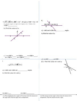 Angle Pairs with Factoring and Systems