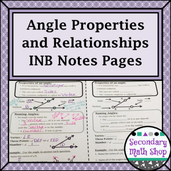Angle Properties, Classifications and Relationships Interactive Notebook Pages