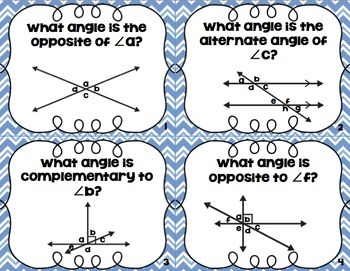 Angle Properties of Intersecting and Parallel Lines Task Cards