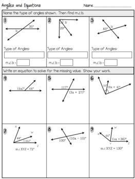 angle properties and equations assessment or practice worksheet 7 g 5. Black Bedroom Furniture Sets. Home Design Ideas