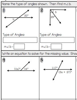 Angle Properties and Equations Assessment or Practice Worksheet (7.G.5)