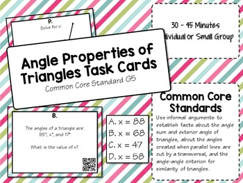 Angle Properties of Triangles (Interior and Exterior) Task Cards - Math Centers
