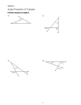 Angle Properties of Triangles Worksheet