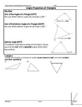 Angle Properties of a Triangle Lesson with Homework
