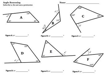 Angle Reasoning Common Core 7.G.B.5 Task Card BUNDLE Geometry