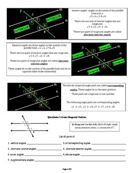 Angle Relations (Parallel lines cut by a transversal)