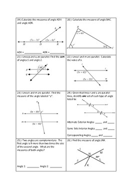 Angle Relationship Assessment