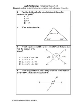 Angle Relationship Choice Board