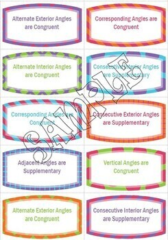 Angle Relationship Flashcards -- Parallel Lines Cut by a Transversal