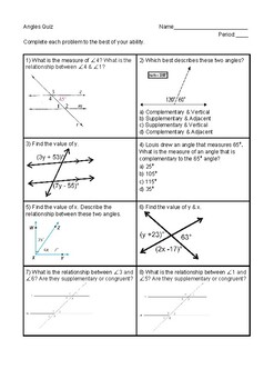 Angle Relationship & Measures Quiz