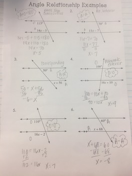 Angle Relationship (Parallel Lines/Transversal) Examples