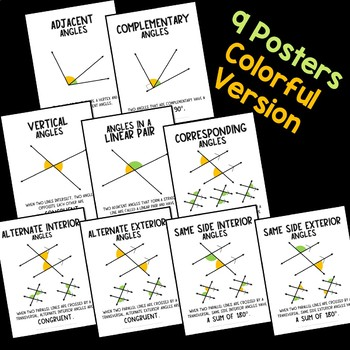 Angle Relationship Posters Including Parallel Lines and a Transversal